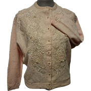 Pink Hand Beaded and Sequined Sweater Body Lined Angora Cashmere Fur Blend