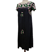 ON HOLD for anantic Embroidered Pink on Navy Mexico Peasant Dress Oaxacan Tourist BoHo Chic