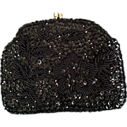 Richere by Walborg Clutch Black Beaded Sequined w/ optional Gold Tone Chain Handle
