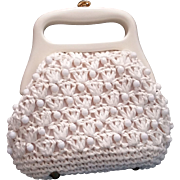 Raffia Beaded Crocheted Purse Made in Italy Rigid Plastic Hinged Frame Handle