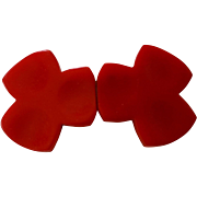 True Red Bakelite 2 Part Trefoil Belt Buckle