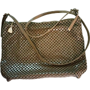 Whiting and Davis Mesh Purse Handbag Cross Body Zip Top Mocha Cappuccino