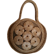Vintage Round Straw Purse with Cloth Lining
