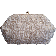 Sharonee Beaded Sequined White Purse Chain Handle to Use or Put Away Carry As Clutch
