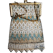 Teal Gold and White Mandalian Metal Mesh Purse Art Deco Ornate Kiss Snap Closure