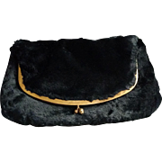 Black Faux Sheared Mink Fur Fold Over Clutch Bag Purse
