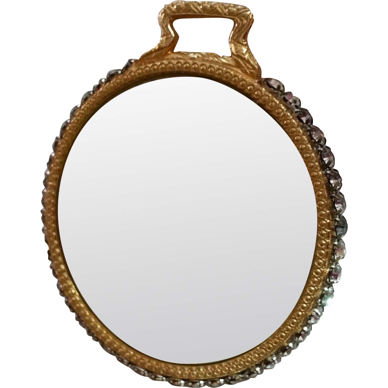 Rhinestone Adorned Hand Mirror with Beveled Edges One Side Magnifies