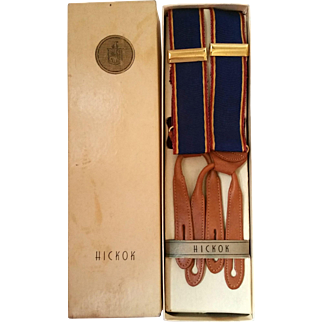 Hickok Suspenders Original Box NRFB Leather Button On Style