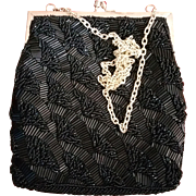 Black Beaded Walborg Evening Purse Bag