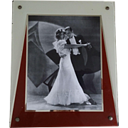 Vintage Art Deco Reverse Painted Photo Frame for 8 x 10 Picture Cream Rust Silver With Easel Back