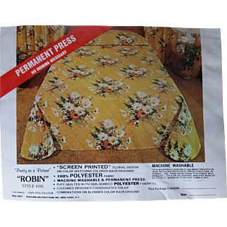 Pretty as a Picture NRFP Quilted Floral Bedspread Permanent Press Queen Size 1970s