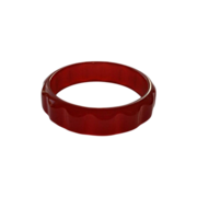 Bakelite Daisy Bracelet Cherry Red Semi-Translucent Scallop Gear