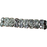 Weiss Bracelet Applied Pave Rhinestone Ribbon Comma Shapes Clear Rhinestones Unsigned