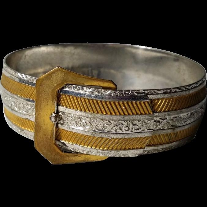 Vintage Buckle Bracelet ¾ In wide Goldtone Silvertone Textured