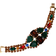 Big Bold Rhinestone Bracelet Looks Unworn Lg Multi Color Pear and Emerald Cuts