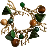 Bakelite Charm Bracelet 1950s Vintage Green with Black Resin Wash Log or Antler Type Wedges Wood Faux Pearls Faceted Plastic Beads