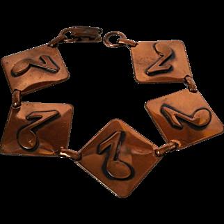 Copper 5-link Bracelet Applied Musical Notes Mid Century Vintage