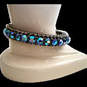 Blue AB Rhinestone Hinged Bangle Bracelet Vintage