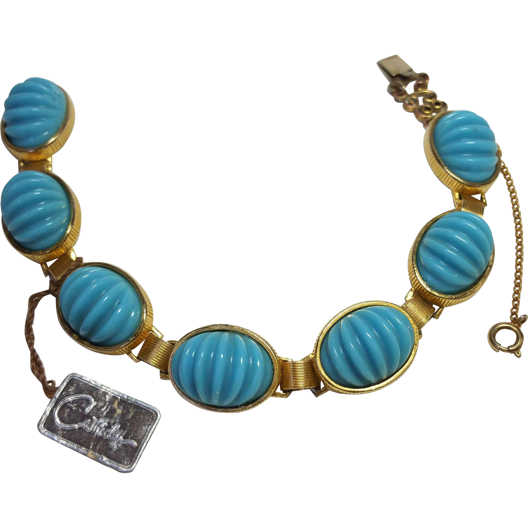 Castlecliff Bracelet Orig Tag Turquoise Ribbed Plastic Sets Gold Tone