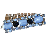 Bracelet of Blue Faux Moonstone and Dark Navy Blue Faceted