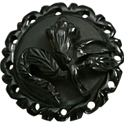 Black Bakelite Floral Brooch Carved and Pierced Pin in Two Parts