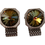 Metal Mesh Wrap Style Cufflinks with Green Rivoli Color Change Rhinestones