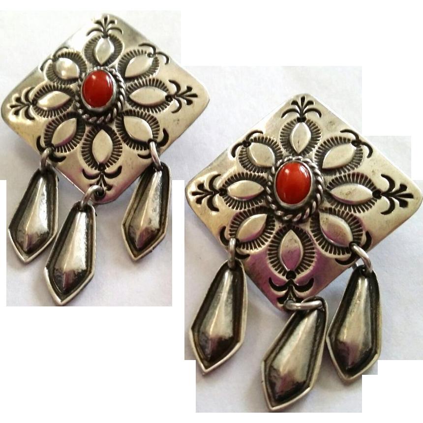 Navajo Coral Sterling Dangle Post Earrings Pineapple Stampings