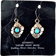 Shadowbox Sterling Silver Turquoise NA Pierced ERs Marked MMM
