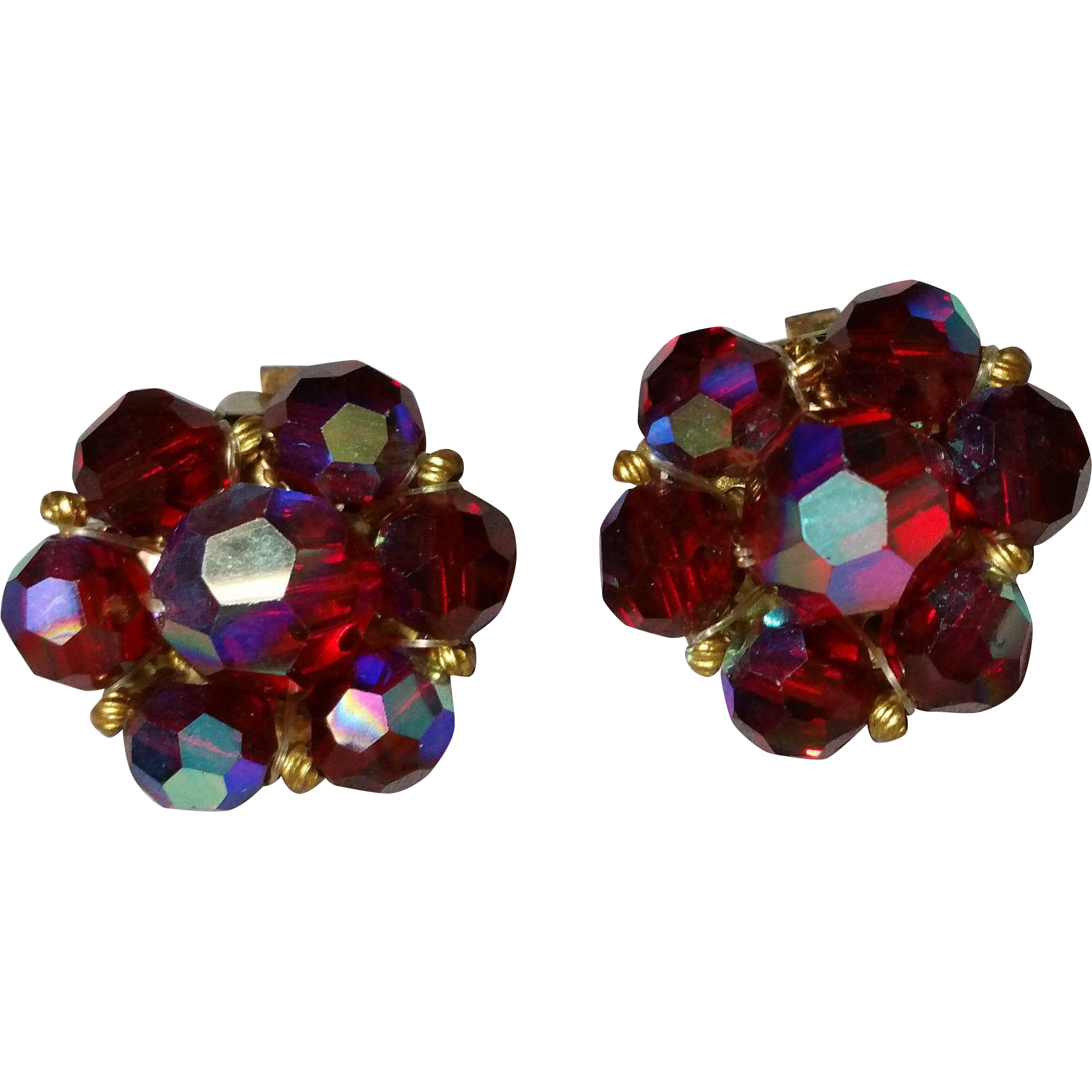 Red AB Faceted Crystal Clip On Earrings 1960s Gold Tone Clips Spacer Beads