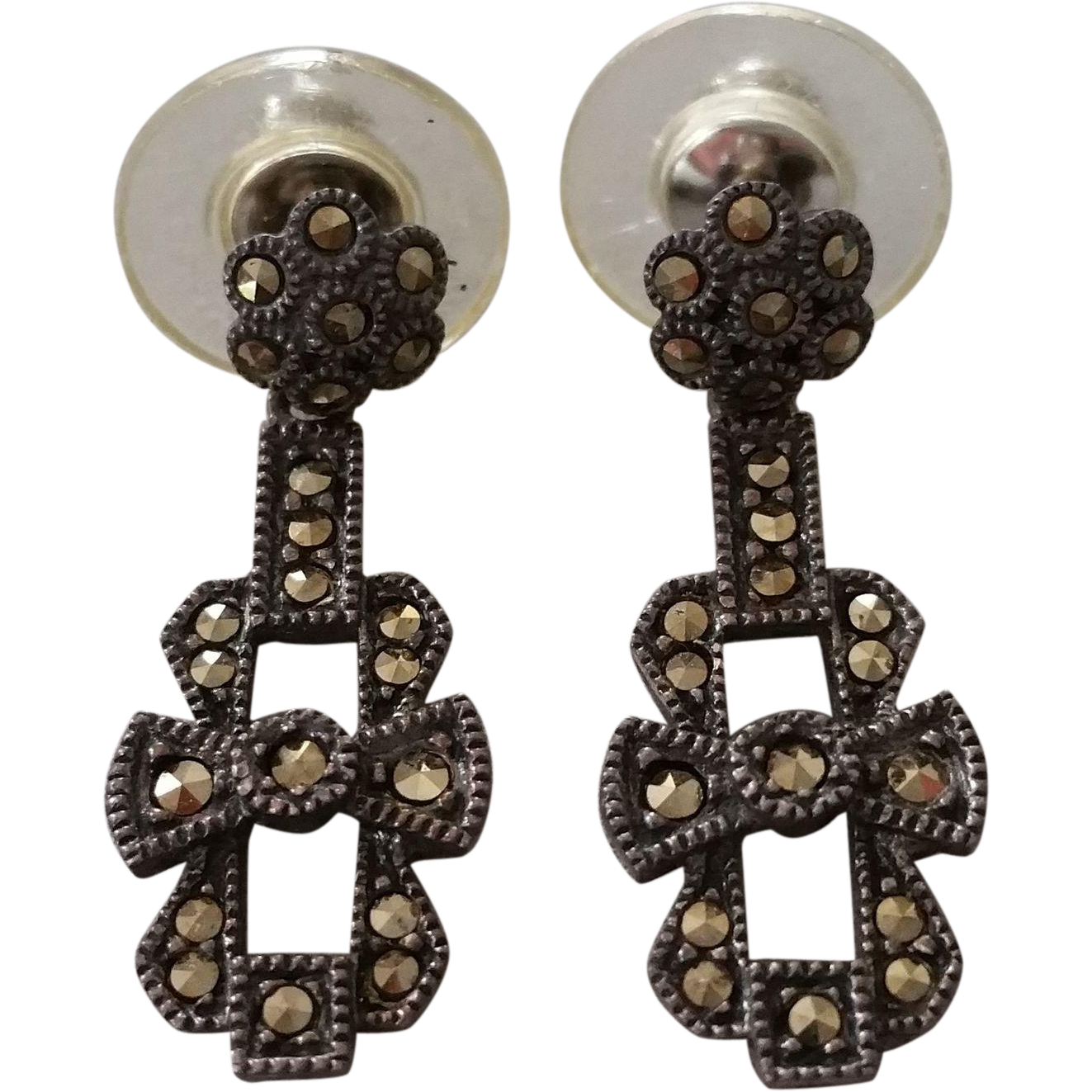 Judith Jack Sterling Marcasite Post Dangle Earrings on Original Card
