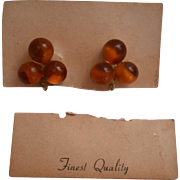 Apple Juice Bakelite Screw Back Earrings