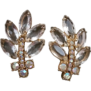 Juliana D and E Clip on Earrings Open Back Clear Marquise and AB Chaton Rhinestones
