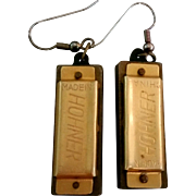 Harmonica Earrings of Four Note Working Real Hohner Harmonicas Made in USA