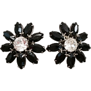 Signed Weiss Clip Earrings Jet Daisy Motif Black Marquise Petals with Clear Chaton Centers