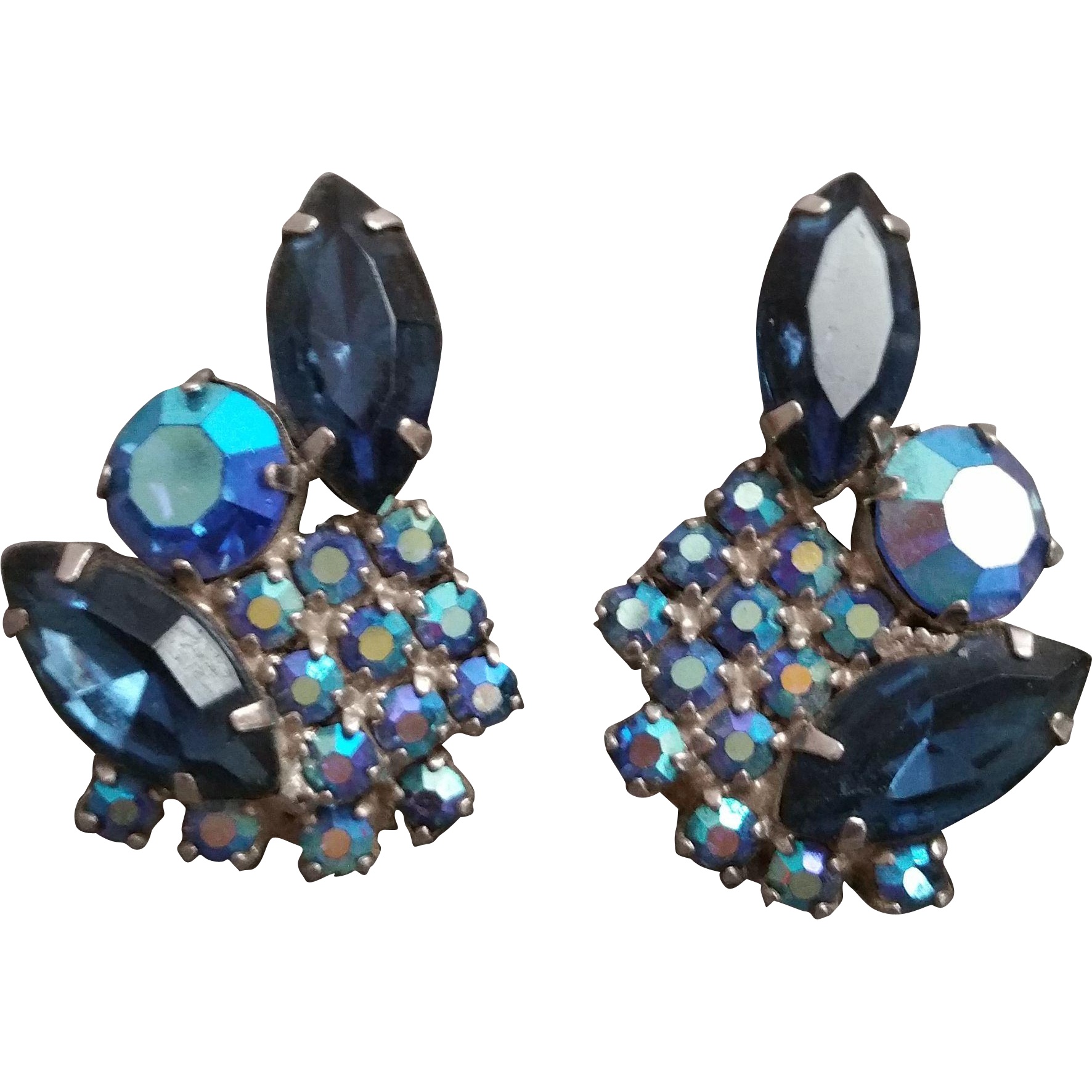 Montana Blue and Blue AB Rhinestone Clip Earrings