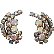 Aurora Borealis Rhinestone Crystal Prong Set Gold Tone Clip on Earrings