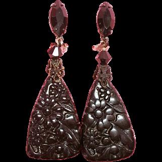 Lewis Segal California Elegant Black Glass Dangle Clip Earrings
