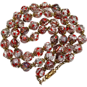 Murano Millefiori Bead Necklace of Red and White Star Shaped Canes in Clear Individually Knotted