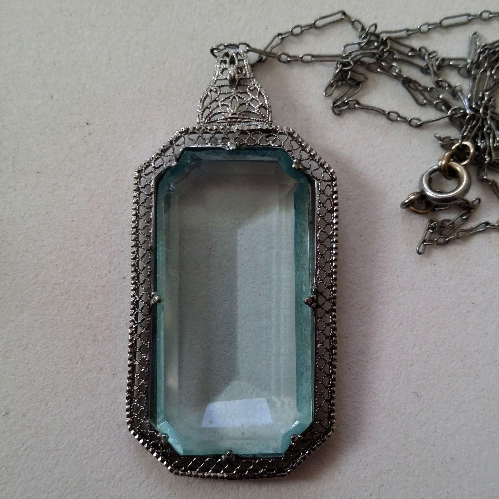 Lg faux aquamarine in filigree pendant necklace fancy chain roll over large image to magnify click large image to zoom aloadofball Gallery