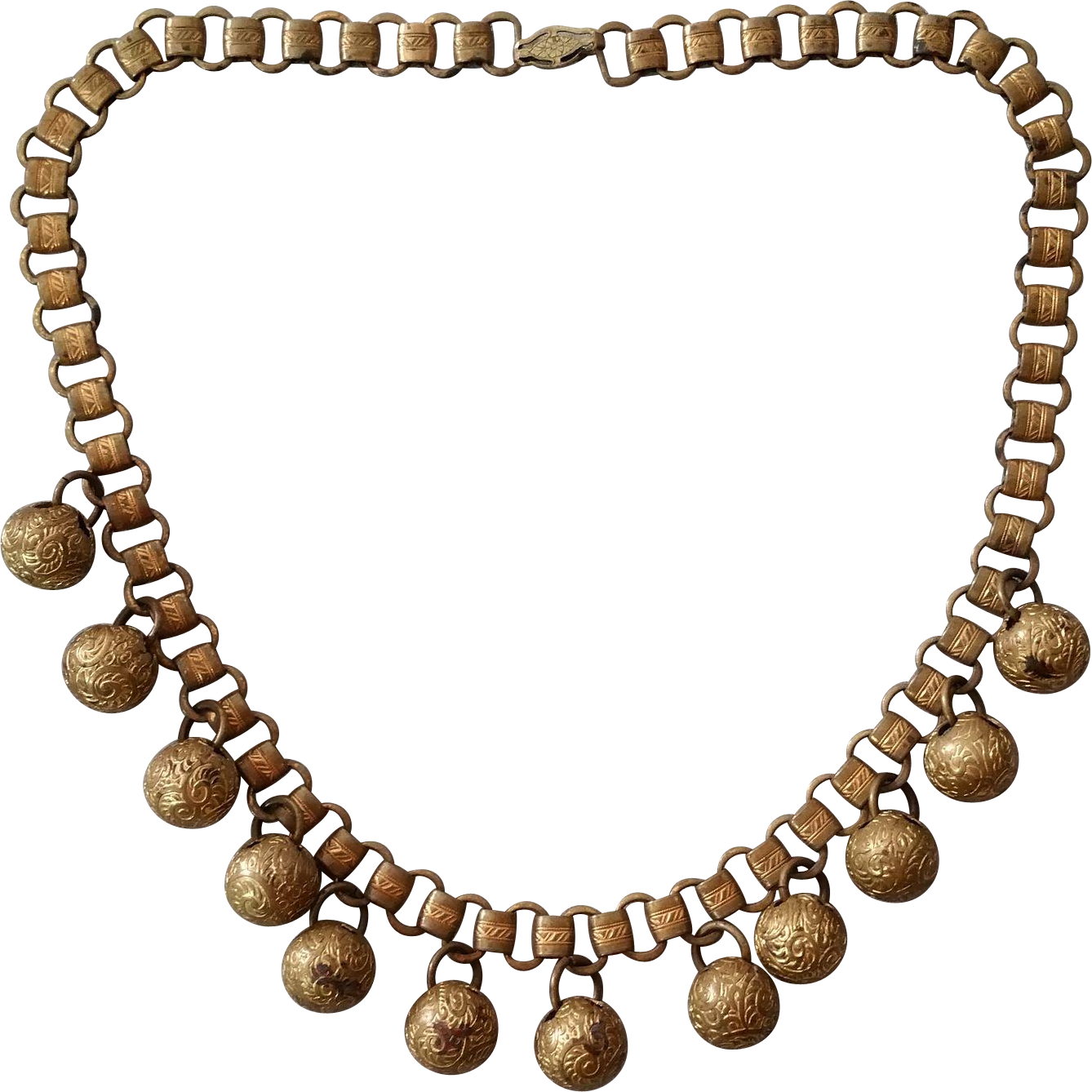 Bookchain Necklace with 12 Very Ornate Brass 4-hole Ball Buttons Hung as Dangle Beads