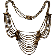 1930s Ball Chain Bib Style Necklace With 3 Eight and 11 Strands of Brass Beads