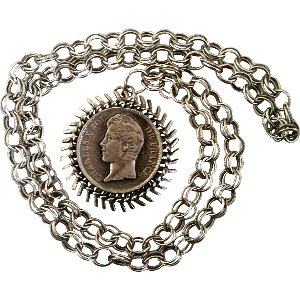 Faux French Coin Pendant Necklace Mod Chunky Chain Retro Hippie Vintage Silvertone