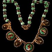 Vintage Czechoslovakia Three Portrait & Peking Glass Necklace with Faux Pearls & Enamel