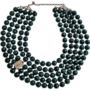 Large Vintage Five Strand Teal Beaded Necklace Original Tag Newman's Dept Store Enid OK