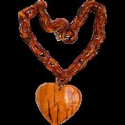 Vintage Heart Necklace Large Pendant on Celluloid Chain