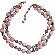 Pink Vendome 2 Strand Necklace Vintage Pink Faceted Crystals & Rhinestone Beads