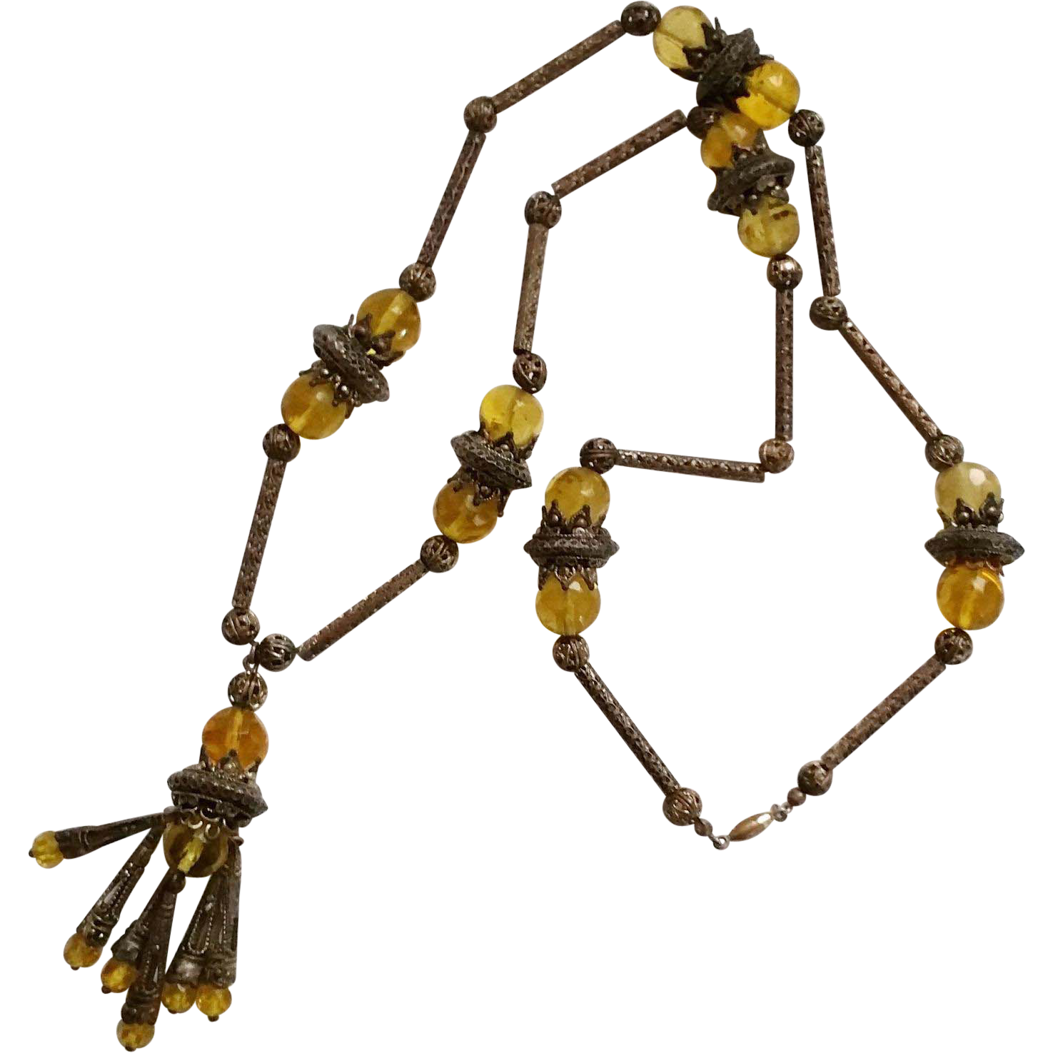Vintage Czechoslovakia Tassel Necklace with Filigree and Glass Beads