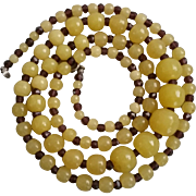 Vintage Czech Bead Necklace of Molded Beads Pale Yellow Rounds Amethyst Faceted Spacers
