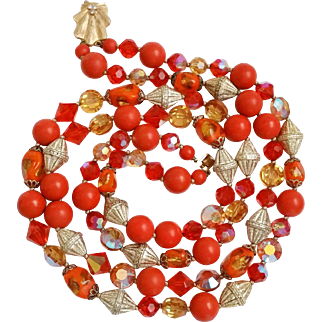 2 strand Necklace Pumpkin Orange Foiled Window Pane Art Glass Beads, Faceted, AB, Beads, more
