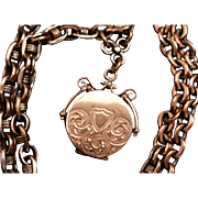 On hold for Becky - Antique Necklace with Hair Locket Fob on Converted Pocket Watch Chain